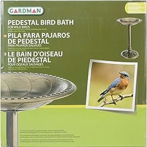 """Gardman BA01281 Pedestal Bird Bath, Antique Bronze Effect, 20"""" Wide x 28"""" High"""