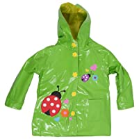 Wippette Girls Toddlers Waterproof Hooded Ladybug Trench Raincoat - Sizes 2-6X