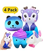 Yetech Jumbo Squishies Slow Rising Squishy Toys Galaxy Starry Packs Scented Squishy Squeeze Toy Stress Reliever Gift (Tooth + Panda + Unicorn + Deer)