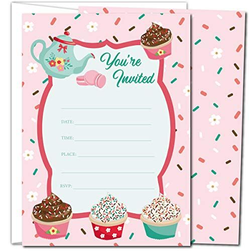 Gooji Cupcake Party Invites - 5x7 Large 25pcs Double Sided Tea Party Invitations With 25 Envelopes - Cute Invite Cards For Baby Shower, Baby Registry And Girls Birthday Party Supplies ...