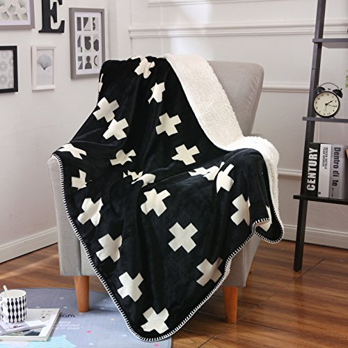 - Royhom Flannel Cross Pattern Throw Blanket for Couch Sofa Bed Traveling Camping Outdoor Bedding | Elegant Soft Ultra Cozy Warm Long Shaggy Sherpa Blanket Warm Outdoor Bedding | Black 40
