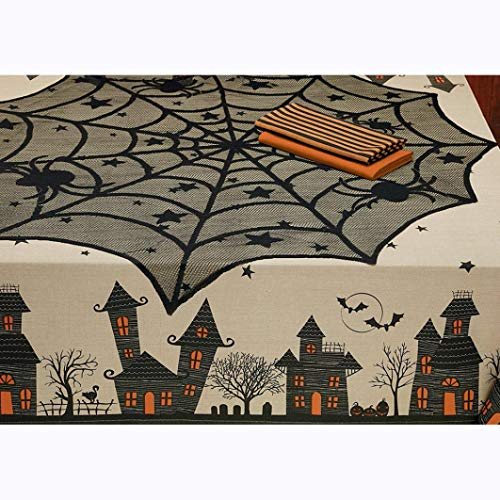 Creazy Halloween Spider Round Web Tablecloth Topper Covers Fireplace Table Party Decor