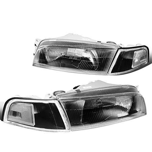 Mitsubishi Mirage Headlight Lamp - DNA Motoring HL-OH-069-BK-CL1 Pair Black/Clear Headlight/Lamps [For 97-01 Mitsubishi Mirage]