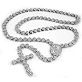 Niv's Bling - 14K White Gold Plated Iced Out Rosary Necklace – Hip Hop Flower Chain, 30 Inches