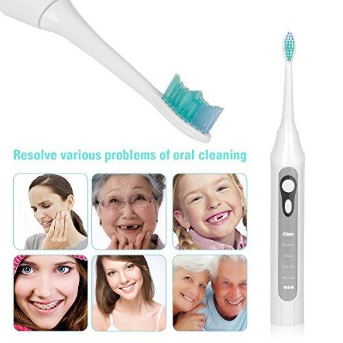 Uvistar Cepillo de dientes eléctrico ultrasónica recargable con carga USB 2 Cabezas Modo 5, plata: Amazon.es: Salud y cuidado personal