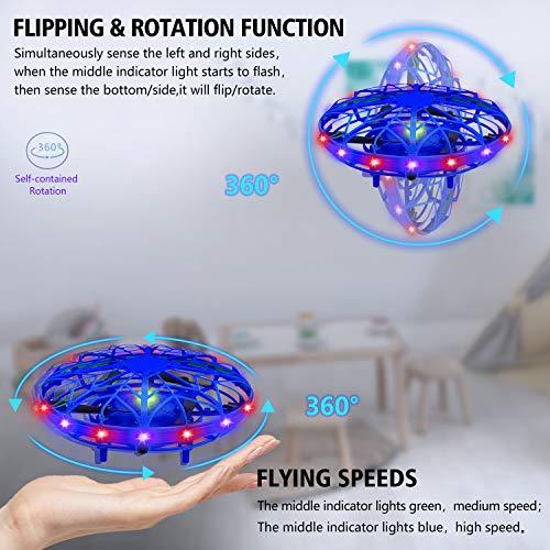 UTTORA UFO Mini Drohne für Kinder,360 ° Drehung Fliegender Ball Spielzeug Wiederaufladbare Infrarot Induktions Drohne mit bunten LED Lichtern für Jungen und Mädchen Drinnen und Draußen