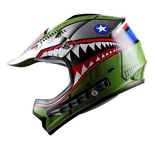 WOW Youth Kids Motocross BMX MX ATV Dirt Bike Helmet Shark Army Green