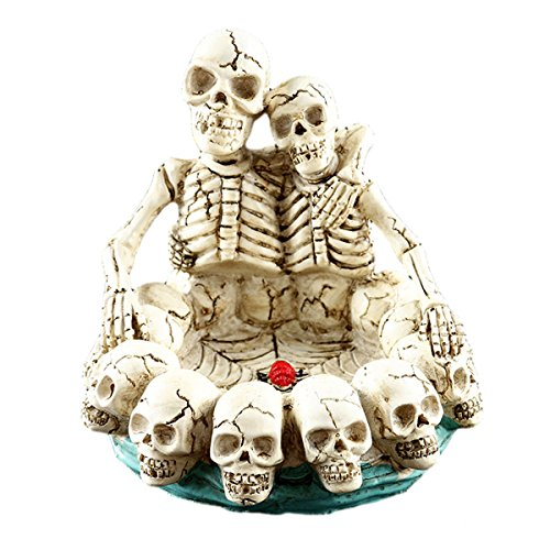 Price comparison product image LUOEM Halloween Decor Creative Double Skulls Hugging Each Other Resin Human Skull Ashtray Home Ornament Scary Bar Decor Smoking Room Accessories