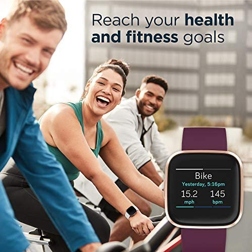 Fitbit Versa 2 Health and Fitness Smartwatch with Heart Rate, Music, Alexa Built-In, Sleep and Swim Tracking, Bordeaux/Copper Rose, One Size (S and L Bands Included) 51LKjon55 L