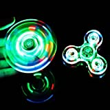 Crystal Led Light Fidget Spinner Rainbow Toy Finger Spinner Hand Spinner for Kids Adults EDC for Anxiety ADD ADHD Autism