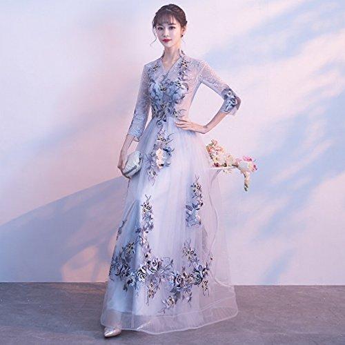 Rossa Cxy Da Vestito Del Abbronzatura Sposa xl Cerimonia Sposa Cheongsam Modo grigio Retro Della Nozze Di Lunga Nuziale SS4HqPxwEB