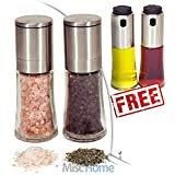 [FREE BONUS] Gourmet Brushed Stainless Steel Adjustable Ceramic Salt and Pepper Mill Grinder Set – Salt and Pepper Shakers Set - FREE High Grade Stainless Steel Oil and Vinegar Cruet Sprayer Set