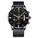 NIBOSI Men's Watches Luxury Chronograph Calendar Waterproof Military Quartz Wristwatches For Men Mesh Alloy Milanese Style Bracelet 2309-3