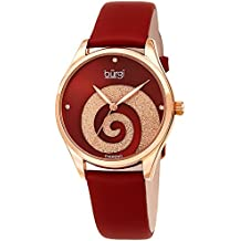 Burgi Women's Watch Diamond Markers – Sunray Dial with Sparkling Crystal Powder Swirl – Deep Red Satin Over Genuine Leather Skinny Strap – BUR201RGR