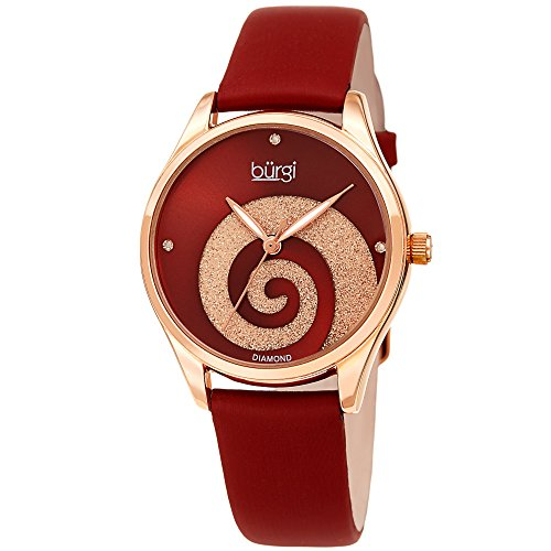 Burgi Women's Watch Diamond Markers - Sunray Dial with Sparkling Crystal Powder Swirl - Deep Red Satin Over Genuine Leather Skinny Strap - BUR201RGR