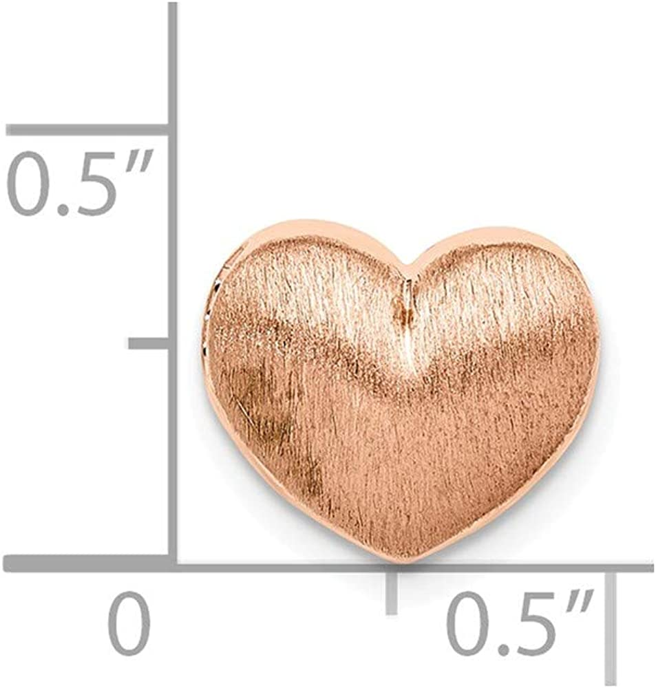 925 Sterling Silver Rose Gold-plated Scratch Finish Heart Chain Slide Pendant Charm 9mm x 11mm