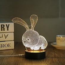 3D LED Night Light Desk Table Lamp Home Decoration Animal Rabbit (DL-RBT)
