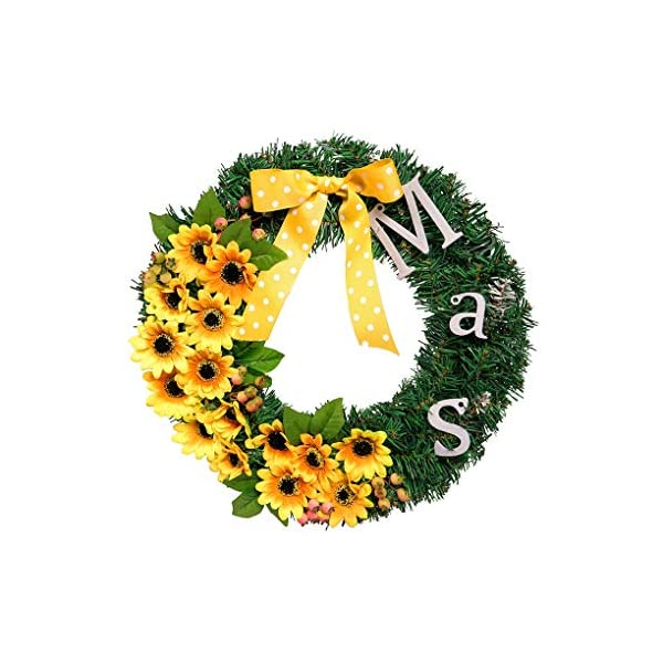 Christmas Wreath Ornaments Sunflower Sun Flower Christmas Wreath Window Hanging Ornaments (Color : Without Light Source)