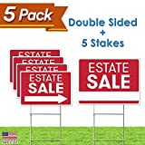 Estate Sale Sign Bundle Kit - [Upgraded] 5 Double Sided Red Pro Real Estate Property Yard Signs Bulk Pack & Heavy Duty H Wire Stakes - Large Directional Arrows - 18'x 24' For Sale Garage Supplies