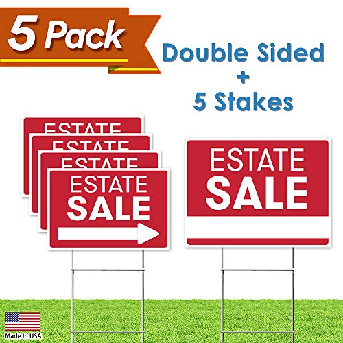 Estate Sale Sign Bundle Kit - [Upgraded] 5 Double Sided Red Pro Real Estate Property Yard Signs Bulk Pack & Heavy Duty H Wire Stakes - Large Directional Arrows - 18