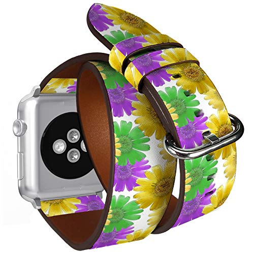 Roll Calendula - Compatible with Small Apple Watch 38mm & 40mm Double Tour Roll Leather Watch Wrist Band Strap Bracelet with Stainless Adapters (Marigold Calendula Officinalis Colorful Texture)