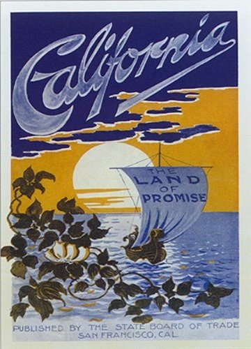 California Art Print Poster Vintage California Sunset Sailing Moonlight