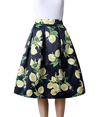 Femirah Women's Vintage Floral Pleated Midi Skirt Skater Skirt