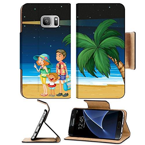 Liili Premium Samsung Galaxy S7 Flip Pu Leather Wallet Case Illustration of a family at the beach near the parola IMAGE ID - Mirror Pics Male