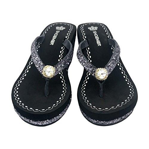 Al Tacón 38 antideslizante Desgaste Playa zapatos Diamantes Imitación b Zapatillas Cómodo Chanclas La Alto Las Mujeres Con Resistente A De UF1qBIv