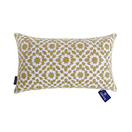 aitliving pillows cover mina decorative lumbar cushion cover yellow ochre trellis throw pillow case cotton canvas 1 pc 12x20