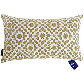 aitliving pillows cover mina decorative lumbar cushion cover yellow ochre trellis throw pillow case cotton canvas 1 pc 12x20 inches30x50cm - Decorative Lumbar Pillows