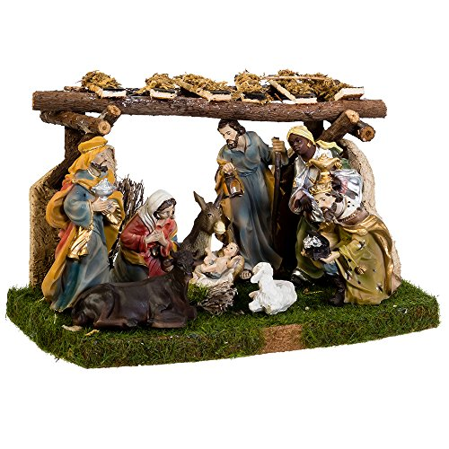 Kurt Adler Nativity Set with 9 Figures and Stable