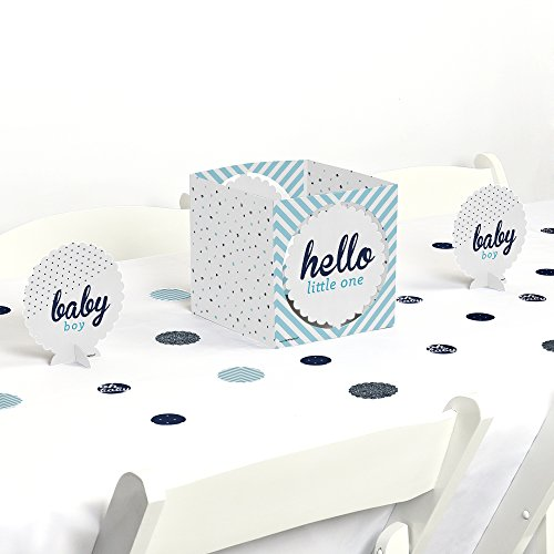 Hello Little One - Blue and Silver - Boy Baby Shower Centerpiece & Table Decoration Kit (Babyshower Candy Table)