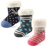 3 Pairs Baby Girls Boys Winter Grips Socks Toddler Slipper Socks Kids Fuzzy Home Socks (3 pairs girls - random designs, 12-24 months)