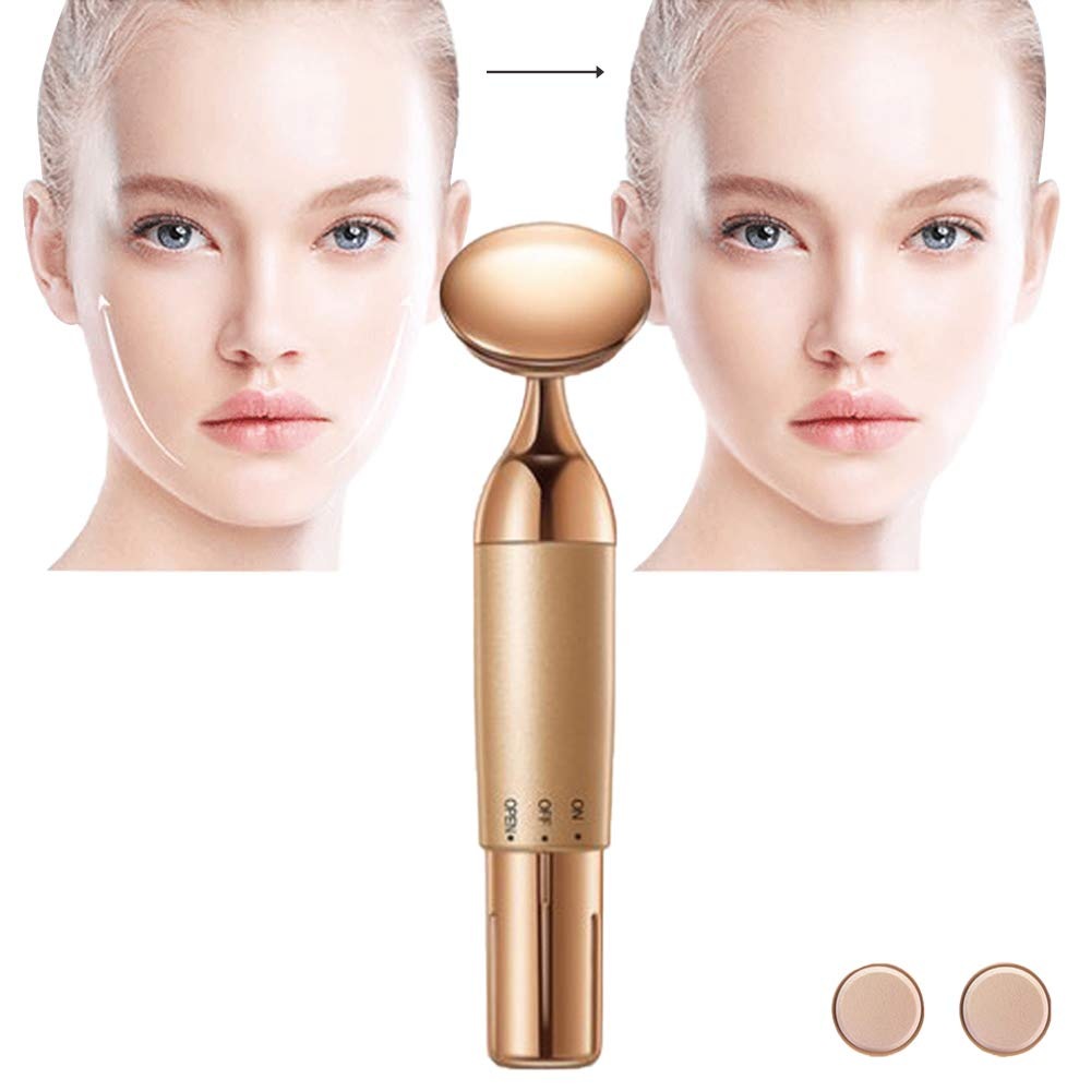 PFMY.DG Anti-Aging Beauty Electronic, Portable Facial Massager Essence Introduced to Eliminate, Detoxifying Face Cleansing Instrument Home Facial Massager Gold