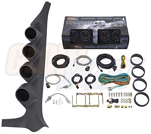 (GlowShift Diesel Gauge Package for 1992-1997 Ford F-Series F-250 F-350 - Black 7 Color 60 PSI Boost, 1500 F Pyrometer EGT, Transmission Temp & 100 PSI Fuel Pressure Gauges - Gray Quad Pillar Pod)