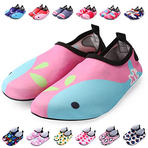 hoes Toddler Swim Shoes Quick Dry Non-Slip Barefoot Aqua Socks for Beach Pool ()