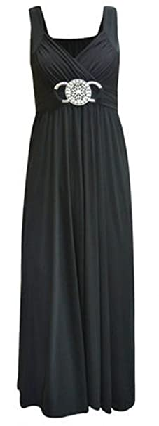 Women/'s Buckle Waisted Tie Back Plus Size Evening Long Ladies Maxi Dress