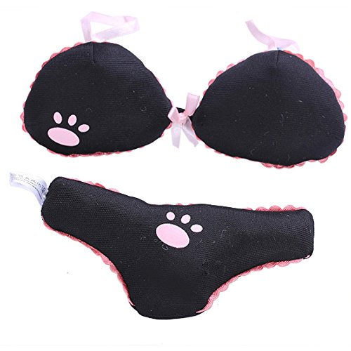 (Stock Show Dog Bikini Modeling Plush Chew Toy with Squeaker Pet Novelty Funny Squeaky Toy Gift for Small Dogs Puppy, Black Bikini(Including Top and Pant))