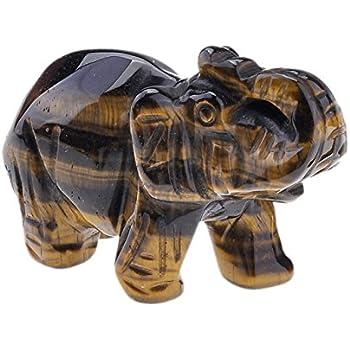 JOVIVI Natural Tiger Eye Carved Gemstones Elephant Crystal Figurine 2'' Room Decoration, with Gift Box (Tiger Eye)
