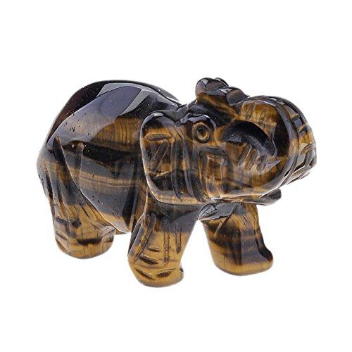 Elephant Figurine Stone (JOVIVI Natural Rose Quartz/Aventurine/Tiger Eye/Opalite Carved Gemstones Elephant Figurine 2'' Room Decoration, with Gift Box (Tiger Eye))