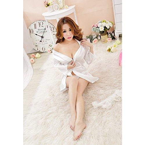 Las mujeres de Surker boda del cord¨®n de la camisa de dormir blanco