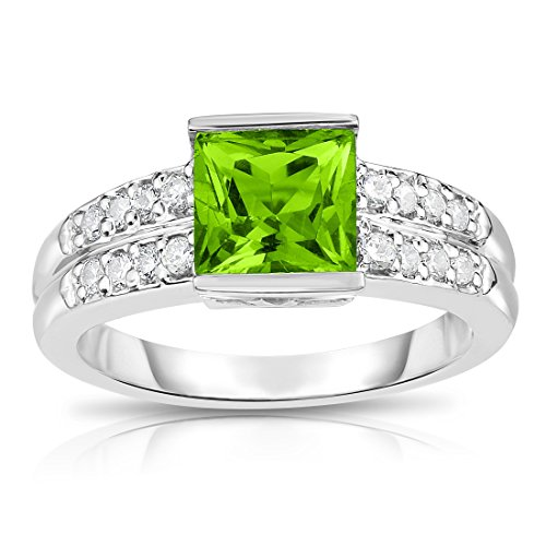 Noray Designs 14K White Gold Princess Cut Peridot & Diamond (0.25 Ct, G-H Color, I1-I2 Clarity) Ring