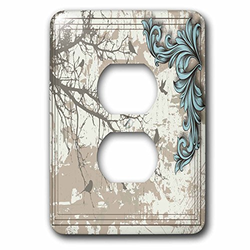 3dRose lsp_78090_6 6 Birds on a Tree Branch of Gray with a Pretty Blue Flourish-2 Plug Outlet Cover, Multicolor ()