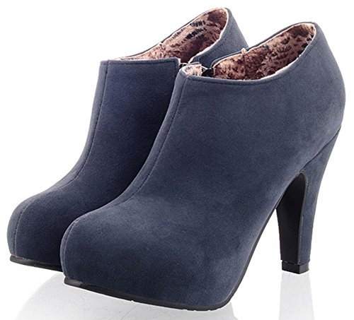 Womens Pretty Ankle Platform Heel Chunky Zip Boots Blue High Suede Up IDIFU Faux A4Cqdw5gw