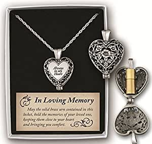 """""""Always in My Heart"""" Memorial Urn Locket-Filigree Pewter Tone"""