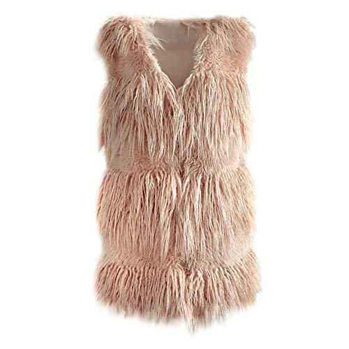 Portada » Noticias. Rosa Mujer Abrigo Fashion Chaqueta De Sólido Sin  Elegantes Piel Moderno Sintética Chaleco Termica ... 499a53bfe464