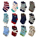 La Volupte Baby Boy's Ankle Cotton Socks Toddler Non Skid Socks with Grip 12 Pairs Pack 12-36 Months (12-36 Months, 12 pairs assorted designs)