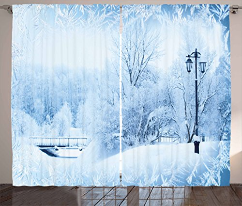 Ambesonne Winter Curtains, Winter Trees in Wonderland Theme Christmas New Year Scenery Freezing Icy Weather, Living Room Bedroom Window Drapes 2 Panel Set, 108 W X 84 L (Winter Wonderland Backdrop Ideas)