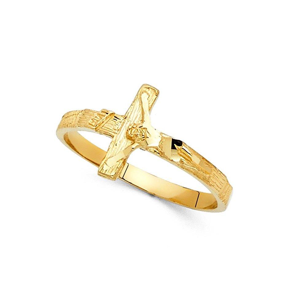 INRI Jesus Cross Ring Solid 14k Yellow Gold Crucifix Band Diamond Cut Polished Genuine 11MM Size 7